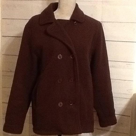 L.L. Bean Jackets & Blazers - LLBean Med Ladies Brown Fleece Pea Coat